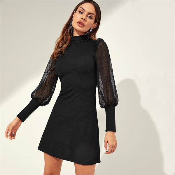 Black Mesh Sleeve Mock-neck Frill Shoulder Office Dress