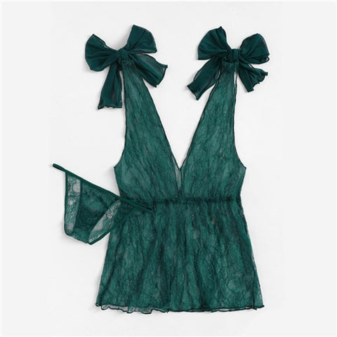 Green V-Neck Knot Lace Sexy Night Dress