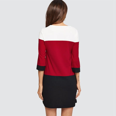 White Red and Black Stitching Office Dresses