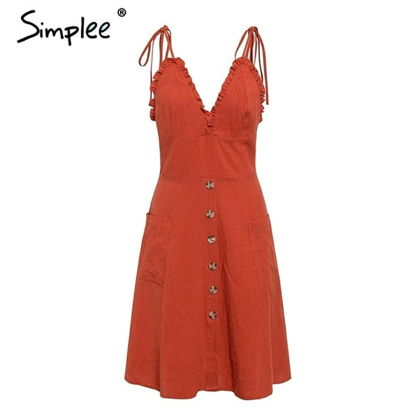 Elegant spaghetti strap sexy v neck short holiday dress