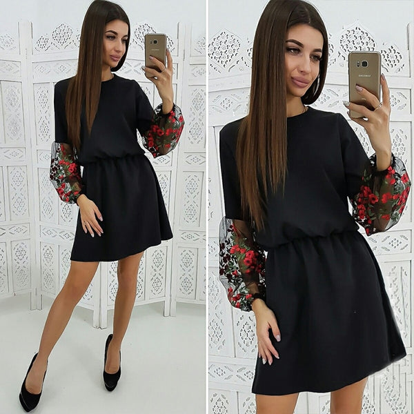 Women Vintage Lace Embroidery Party Mini Dress