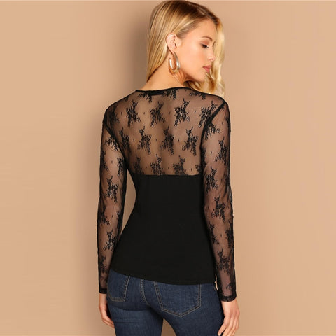 Black Contrast Lace Slim Fitted Top