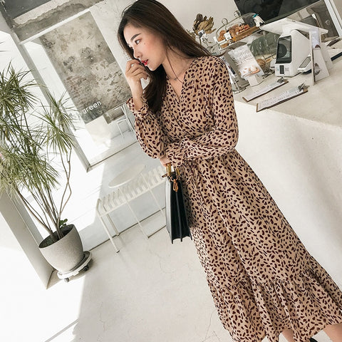 Elegant V-neck Print Chiffon Dress