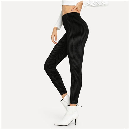 Black Casual Solid Velvet Ribbed Plain High Waist Leggings