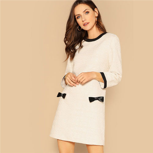 Bow Detail Tweed Round Neck Long Sleeve Office Dress