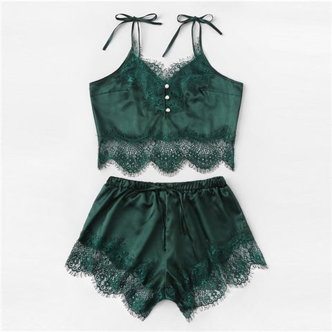Green Satin Lace Cami Sexy Night Top And Shorts And Thong Pajama Set