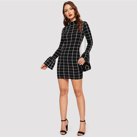 Black Mock-neck Flounce Sleeve Grid Short Office Dress