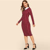 Burgundy Grid Print Collar Office Dress