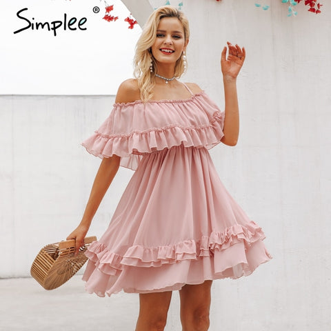 Elegant ruffle off shoulder women dress Spaghetti strap chiffon short sundress