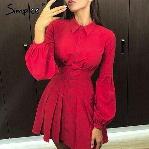 Elegant long sleeve A line short office dress