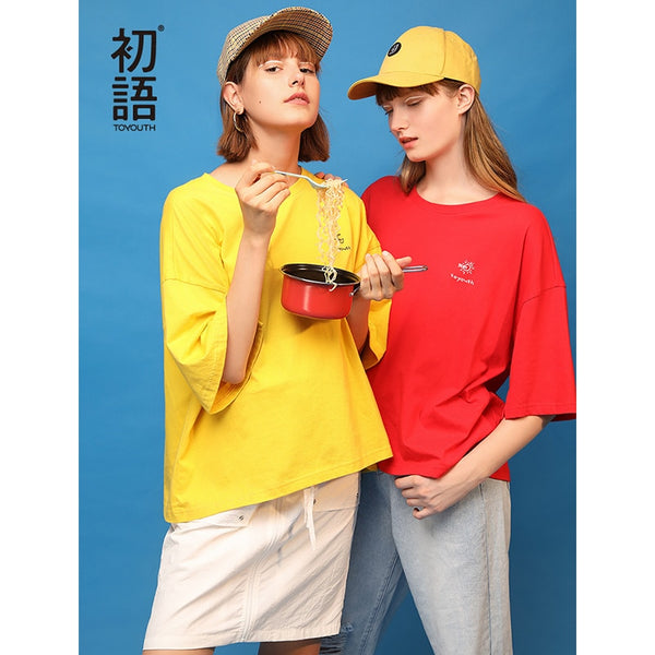 Spring Women Short Sleeve T-Shirt Casual Solid Color O-Neck Top