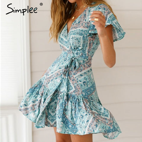 Bohemian print Ruffled v-neck sexy short holiday dresses