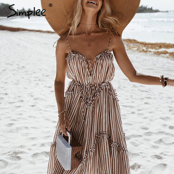 Elegant stripe Spagetti strap lace up long holiday beach dress