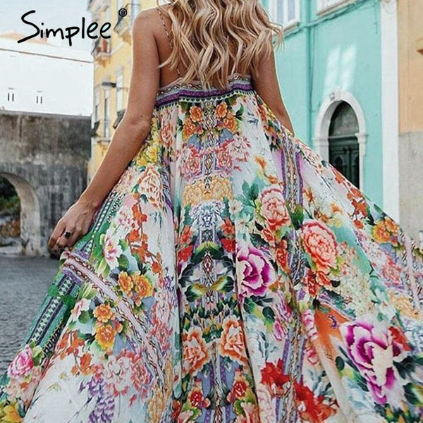 Boho floral Sexy spaghetti strap backless long holiday dresses
