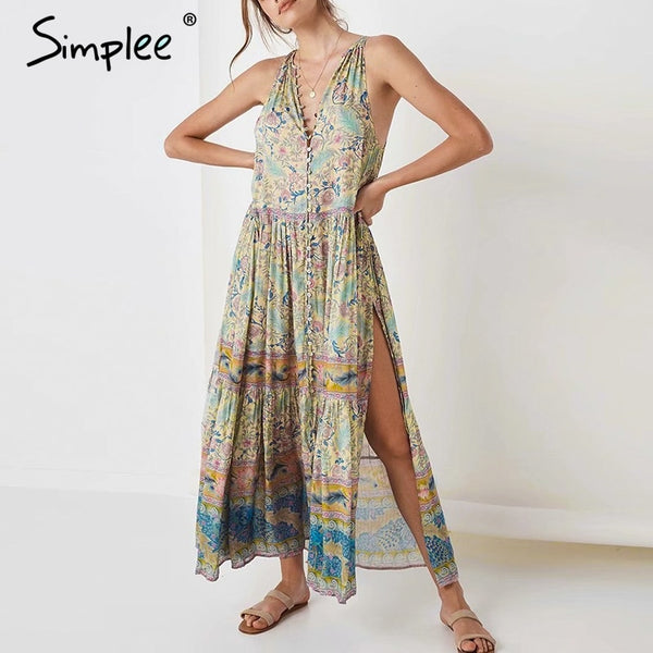 Boho print dress V neck sleeveless long holiday dress