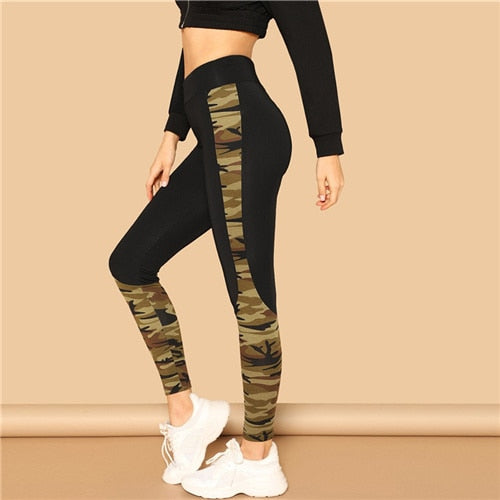 Multicolor Wide Waist Camouflage Print Leggings