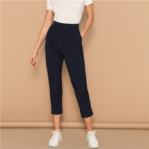 Navy Vertical-stripe Peg Leg Pants