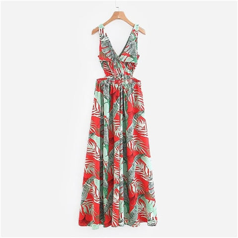 V-Neck Foliage Print Slit Casual Boho Dress