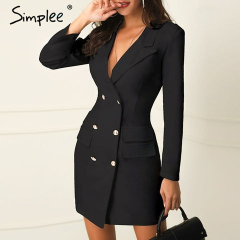Elegant double breasted black short Office dress