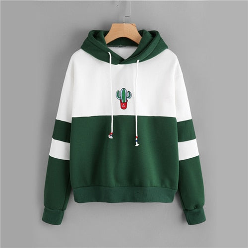 Drawstring Color Block Cactus Embroidered Hoodie