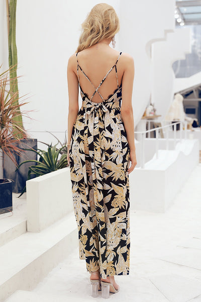 Sexy print lace backlesss lace up long holiday dress