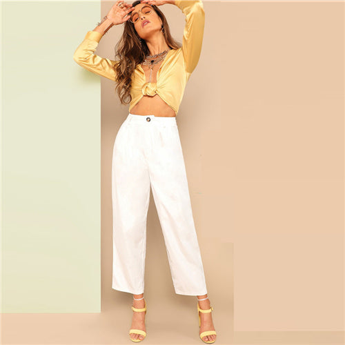 White Buttoned Front Straight Leg Pants