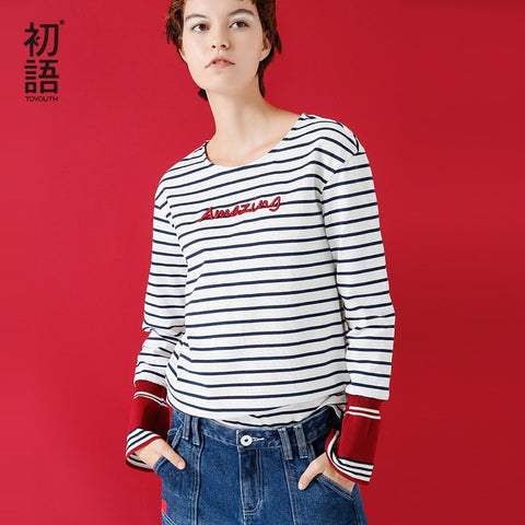 Flare Long Sleeve T-Shirt 2019 Autumn Striped Women Tops