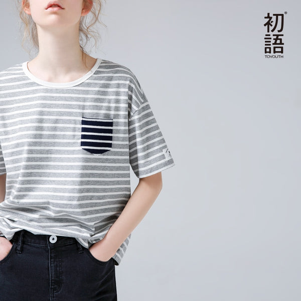 Summer Women Striped T-Shirt Casual Contrast Color Top