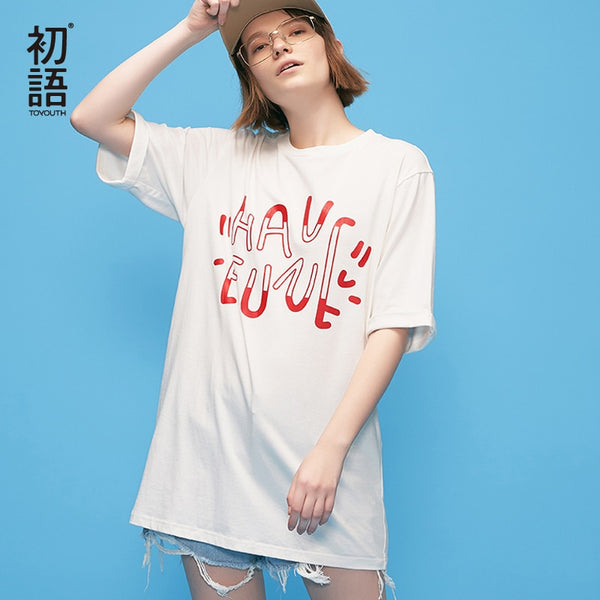 BF Wind Long T-Shirts For Women Loose Letter PrintedTop