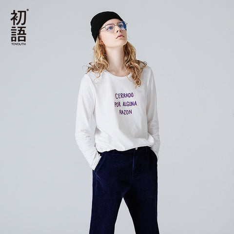 Casual Women's T-Shirts All-Match Letter Printed Bottoming Top