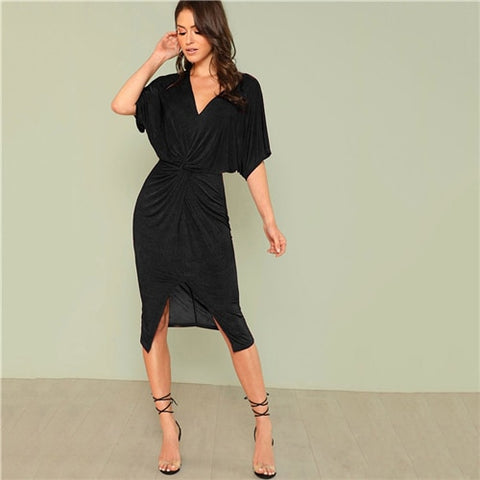 Black Solid V Neck Twist Split OL Elegant Kimono Dress