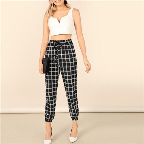 Black Drawstring Waist Plaid Tapered Pants