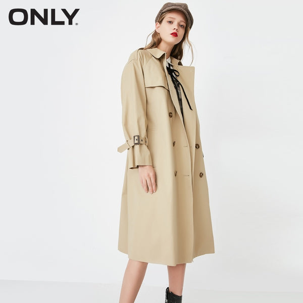 Double-breasted long wind coat
