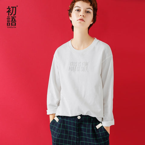 All-Match Embroidery Letter Long Sleeve Top