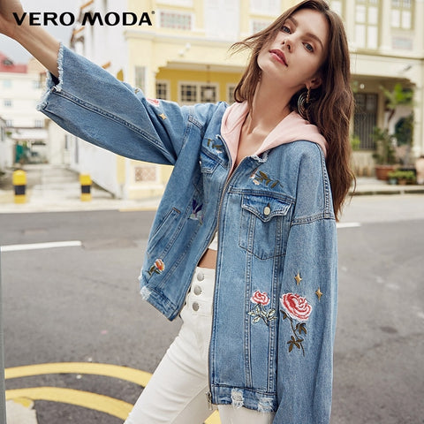 2019 Spring Embroidery Rip Raw-edge Hooded Denim Coat