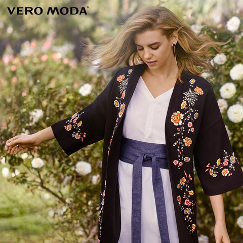 floral embroidered drop shoulder sleeve chiffon jacket