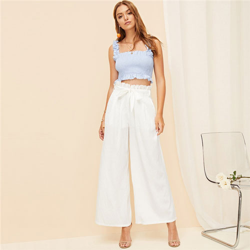 White Zipper Fly Eyelet Frilled Waist Flare Hem Pants