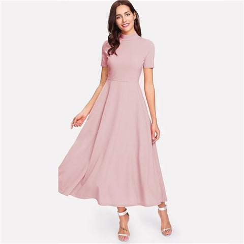 Pink Solid Stand Collar Party Dress