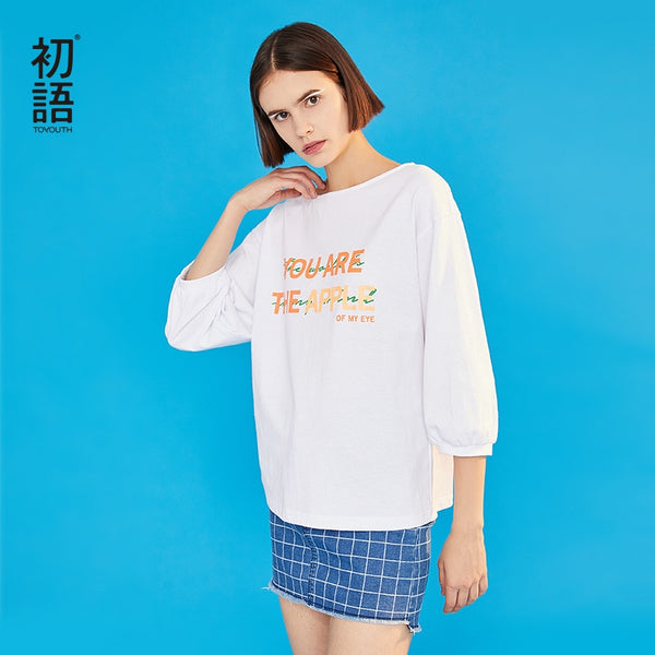 Women Spring T-shirt Casual Round Neck Letter Print Top