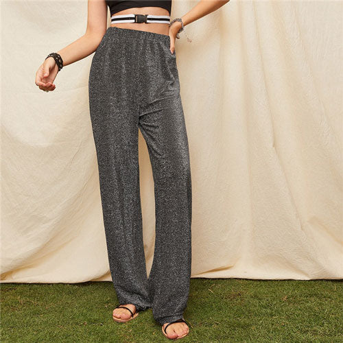 Lady Silver Loose Elastic Waist Glitter Pants