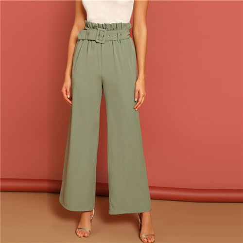 Green Paperbag Waist Wide Leg Belted Plain Pants