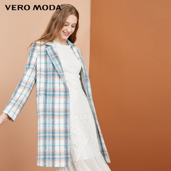 50% wool plaid decorative pocket coat wool coat
