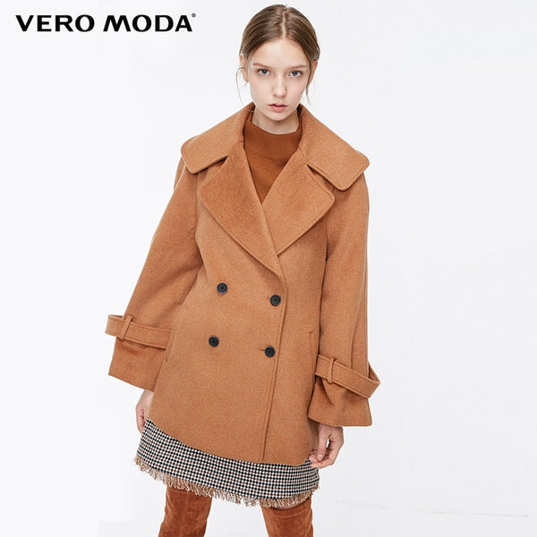 new lapel button adjustable cuff woolen coat female