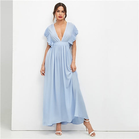 Blue Deep V Neck Elegant Flared Dress