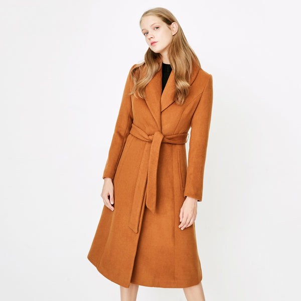 Women's Winter Lace-up Cinched Waist Woolen Coat