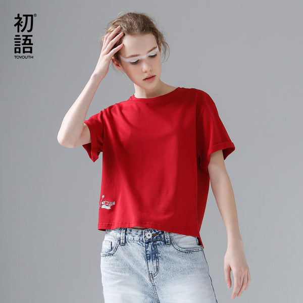 harajuku Funny Embroidery Female T Shirt Top