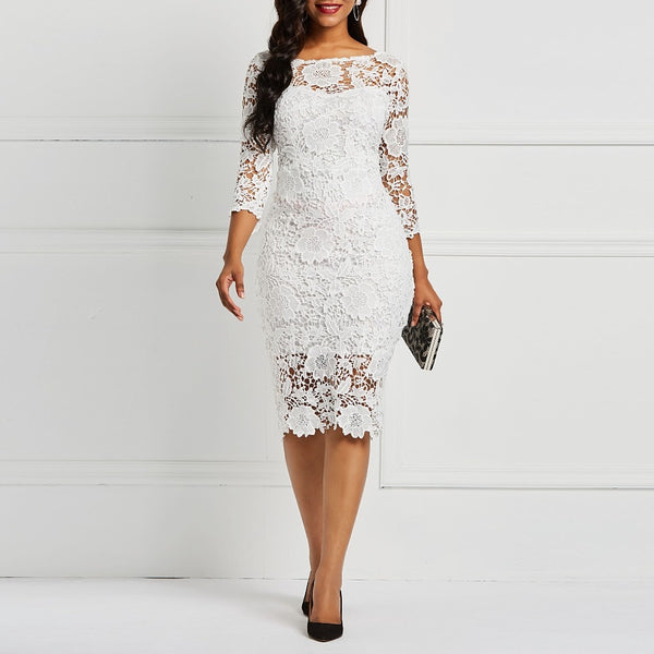 Evening Party Date Floral Lace Dress