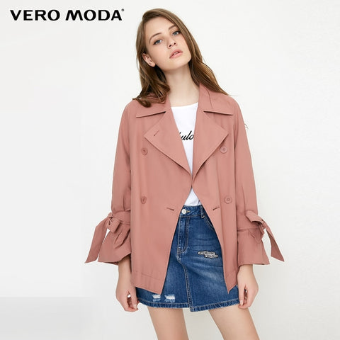 Drop-shoulder Sleeve Trench Coat Turn-down Lapel Casual Coat