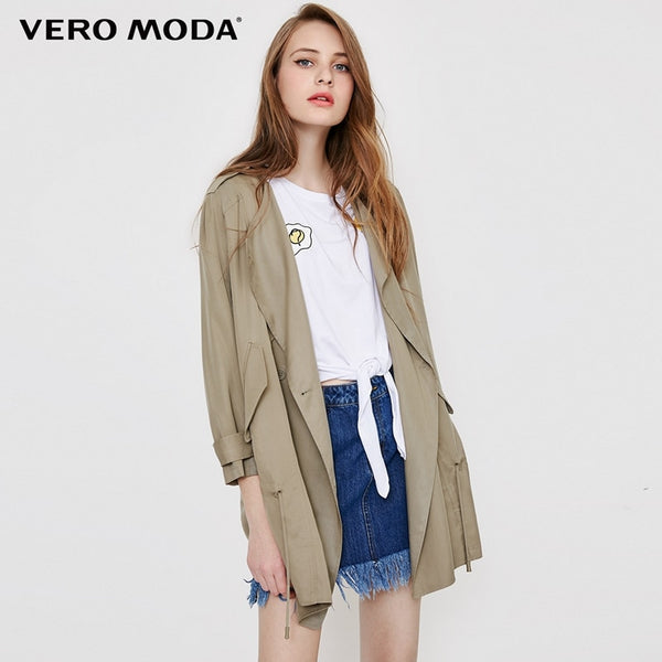 Autumn casual style trench coat dropping tie-up middle-length wind coat