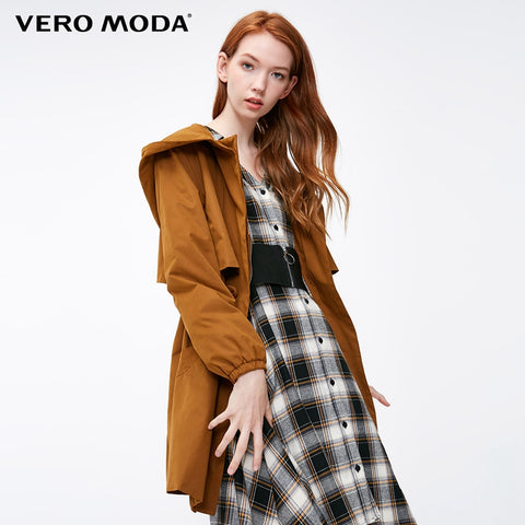 Vero Moda new casual hooded solid color zipper windbreaker jacket |318417501